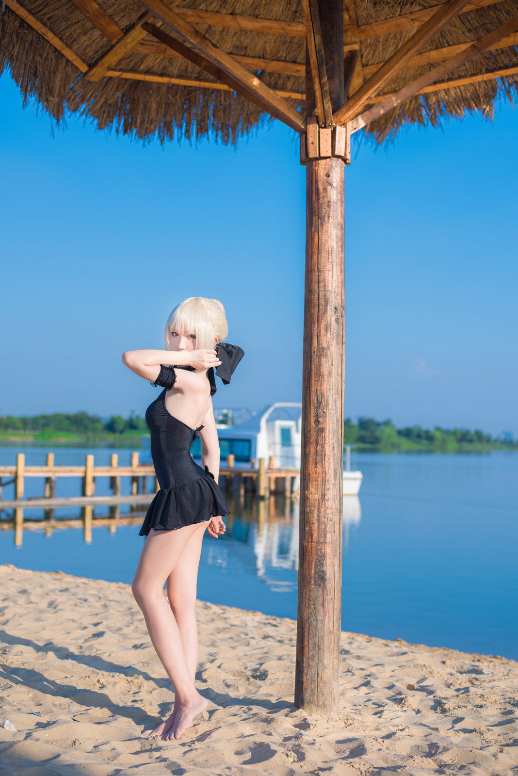 Fate Stay Nigh Saber Cosplay Black Swimsuit